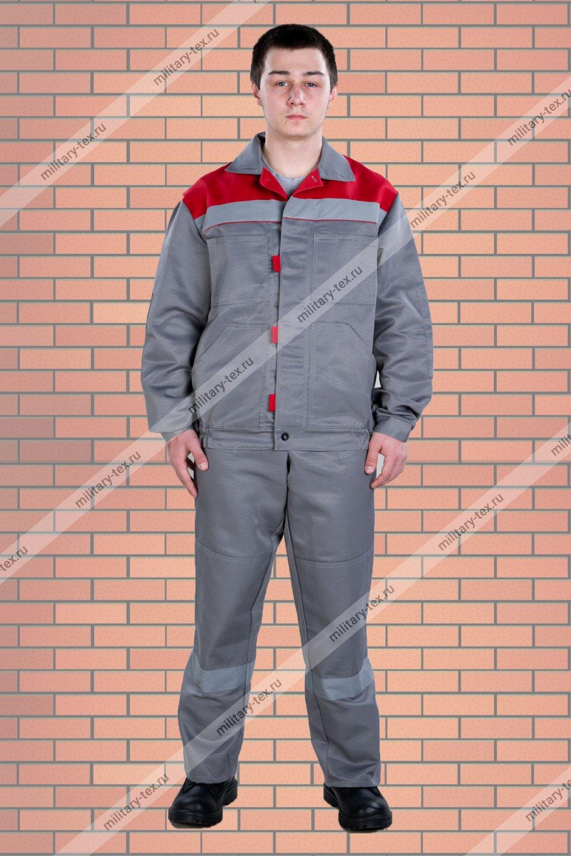 Увеличить - Костюм «Конвейер-NEW» (куртка и пк), цвет серый+красный