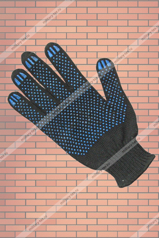 Увеличить - Перчатки 7 нитей с ПВХ (чёрные)