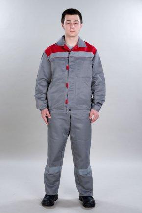 Костюм «Конвейер-NEW» (куртка и пк), цвет серый+красный
