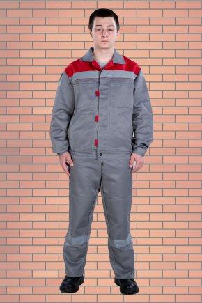 Костюм «Стиль 02» (куртка и пк), цвет серый+красный